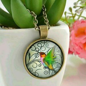 Jewelry - Hummingbird Fashion Charm 3D Dome Necklace • NEW